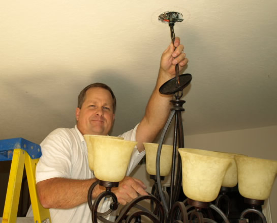 Lighting Dos Vientos Electrical Contractor Installing Chandelier